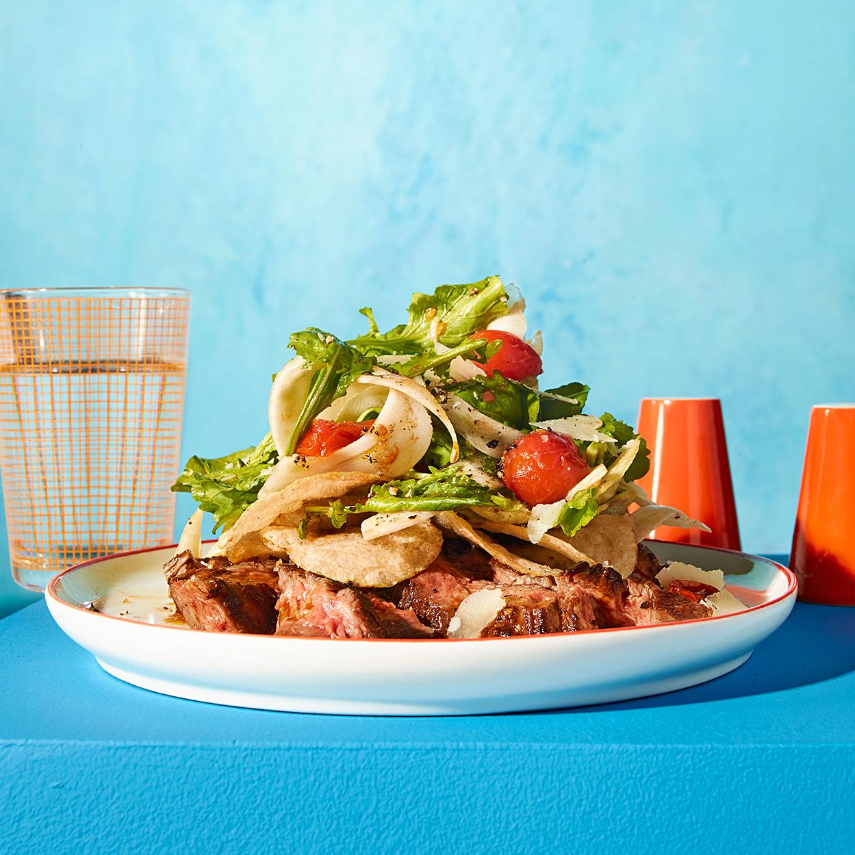 Steak, Potato Chip & Blistered Tomato Salad