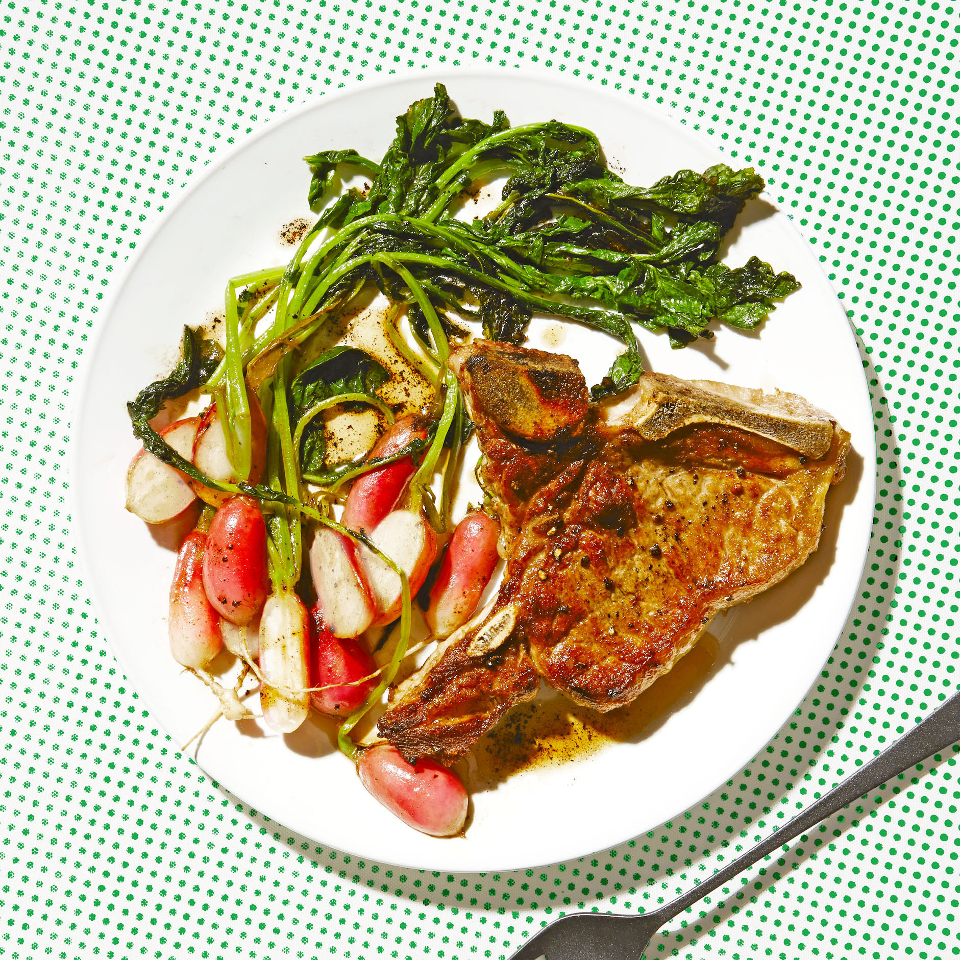 Veal Chops with Vanilla Brown Butter Sauce & Sautéed Radishes