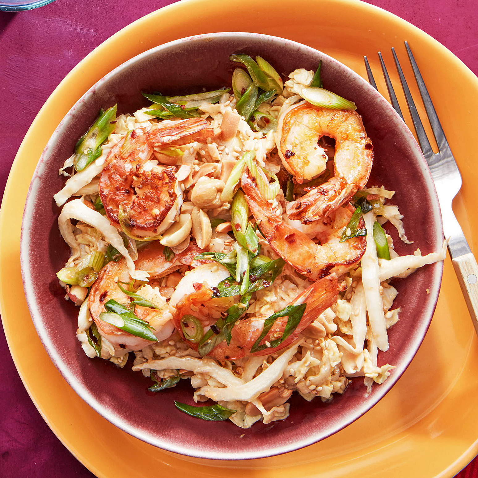 cold sesame cabbage with shrimp