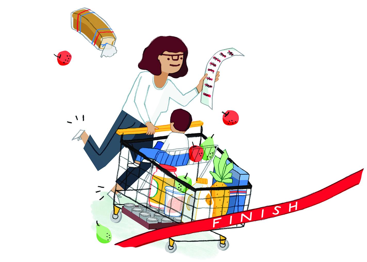 fast lane groceries illustration