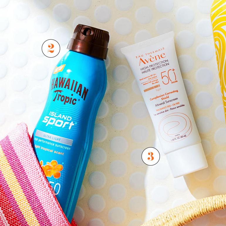 hawaiian tropic spray and avene sunscreen