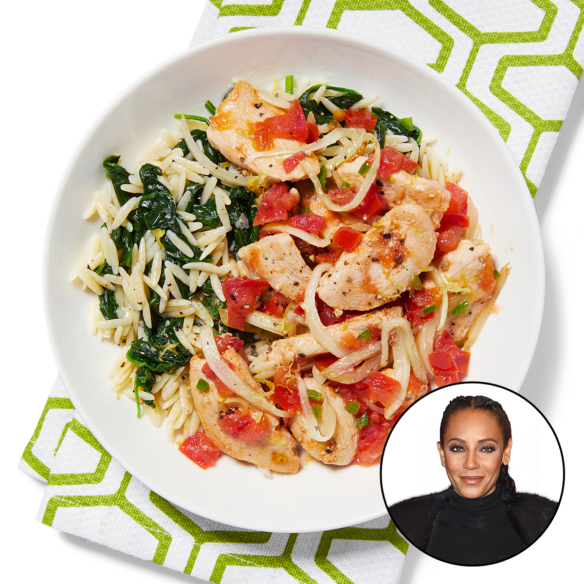 mel b spicy chicken with spinach orzo