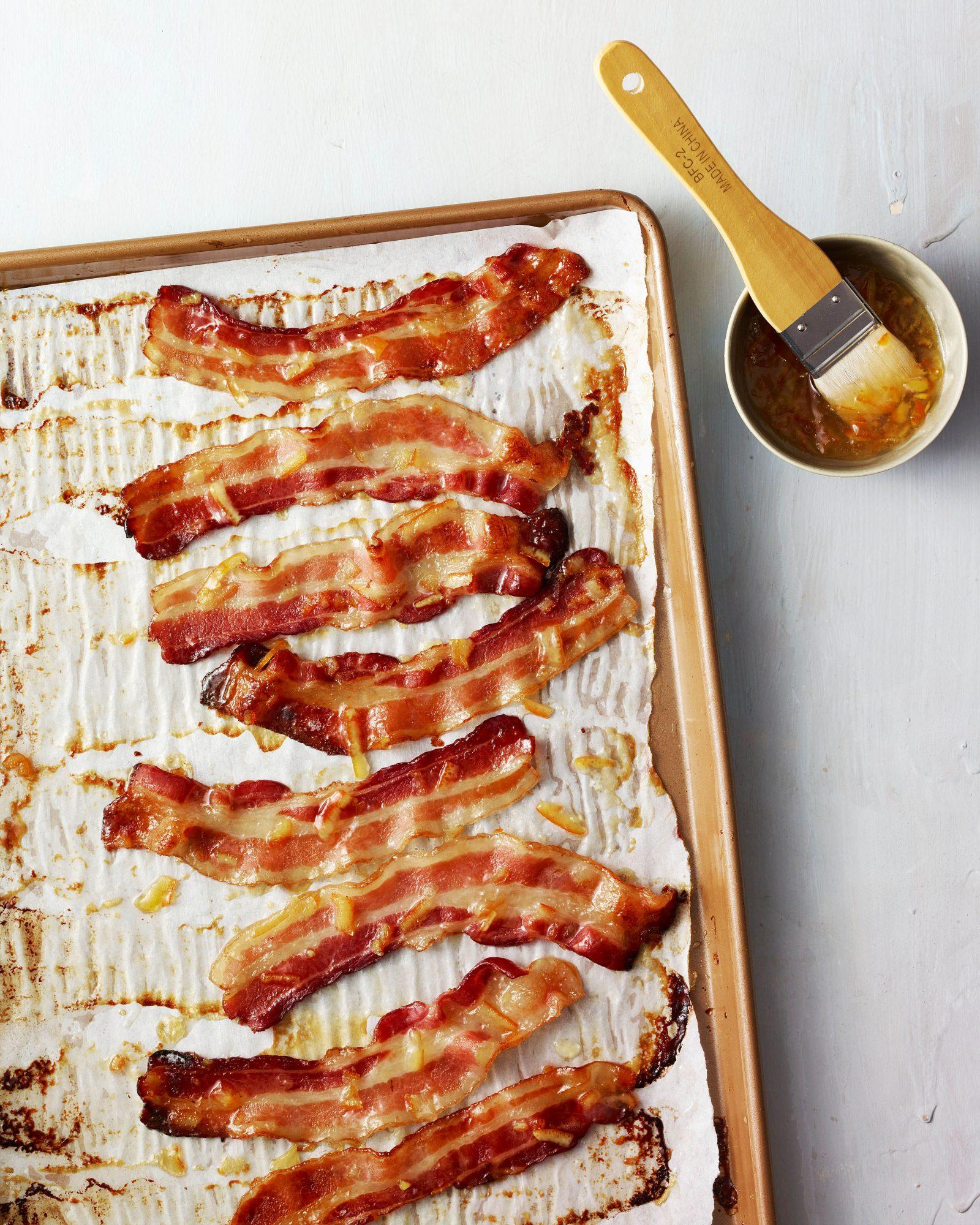orange glazed bacon