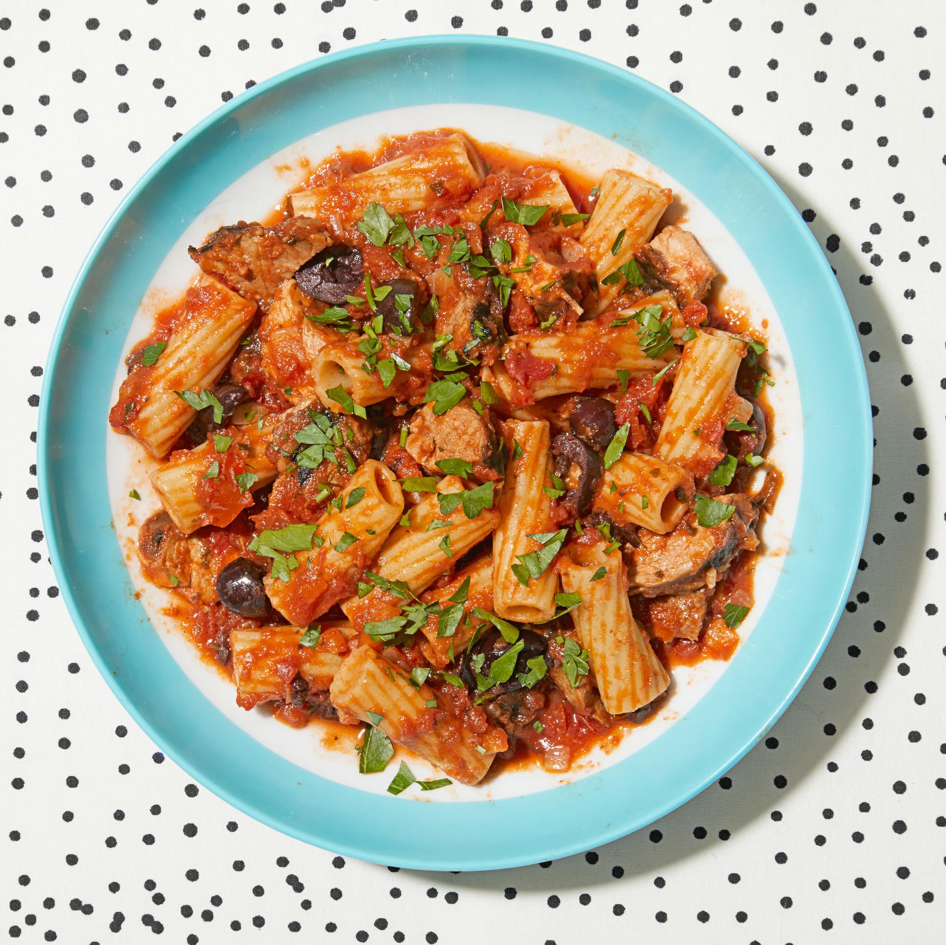 pork kalamata olive rigatoni