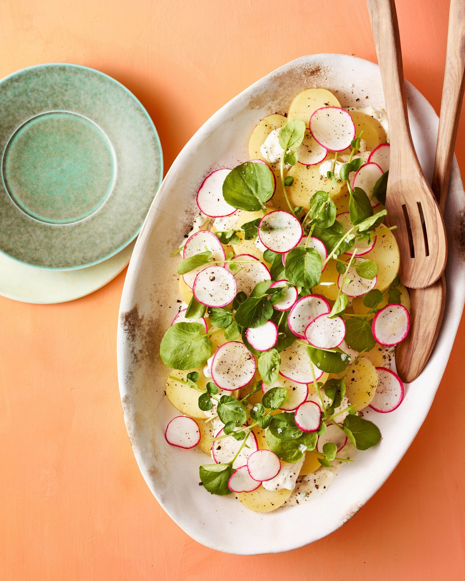 potato salad watercressshaved radishes