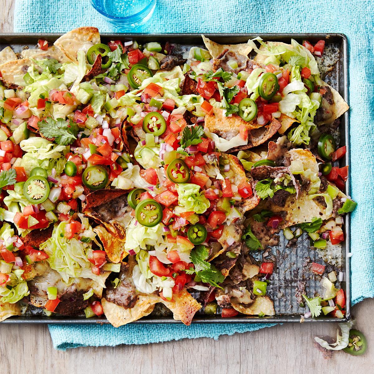 black bean nachos with tomato tomatillo salad