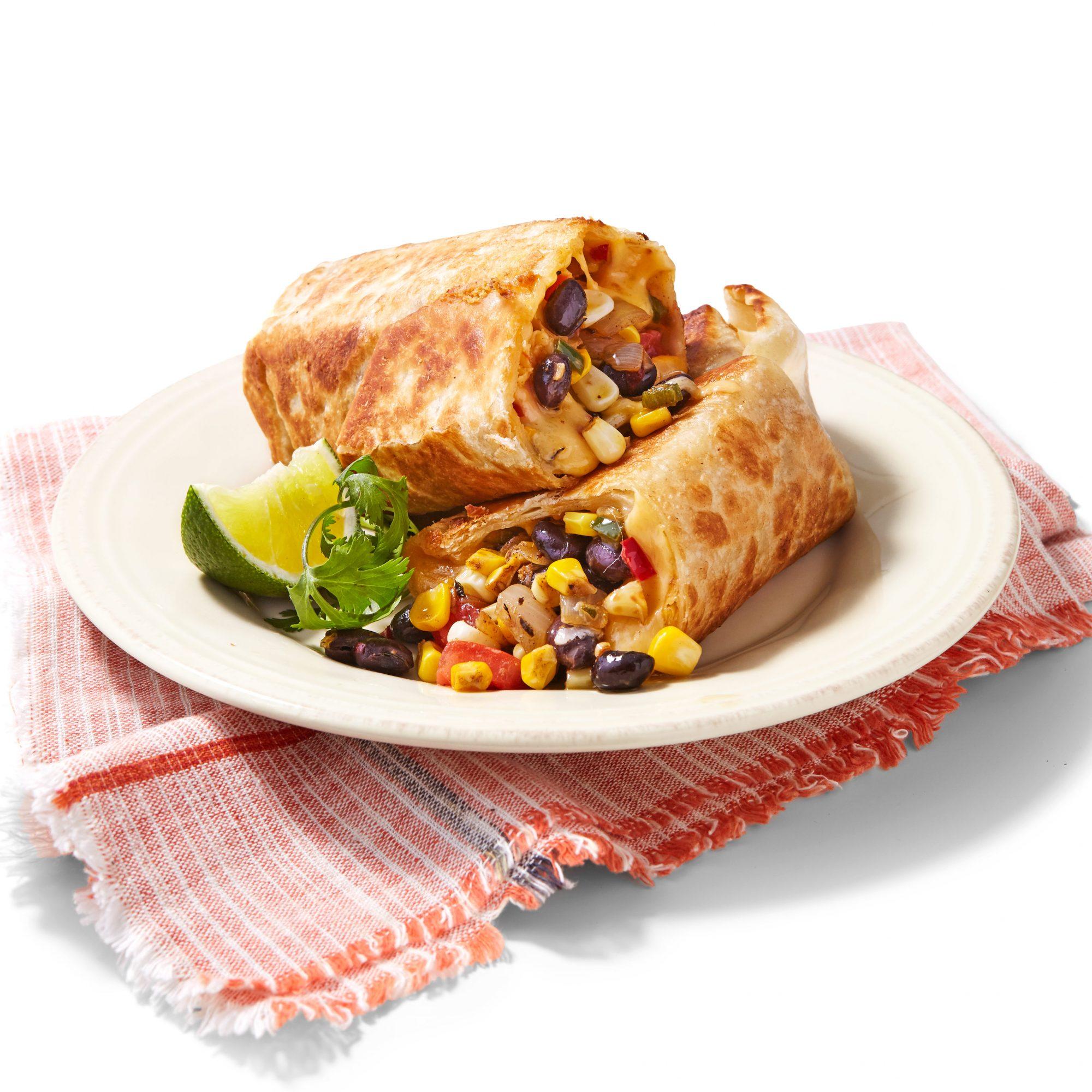 Black Bean Succotash Crispy Burritos