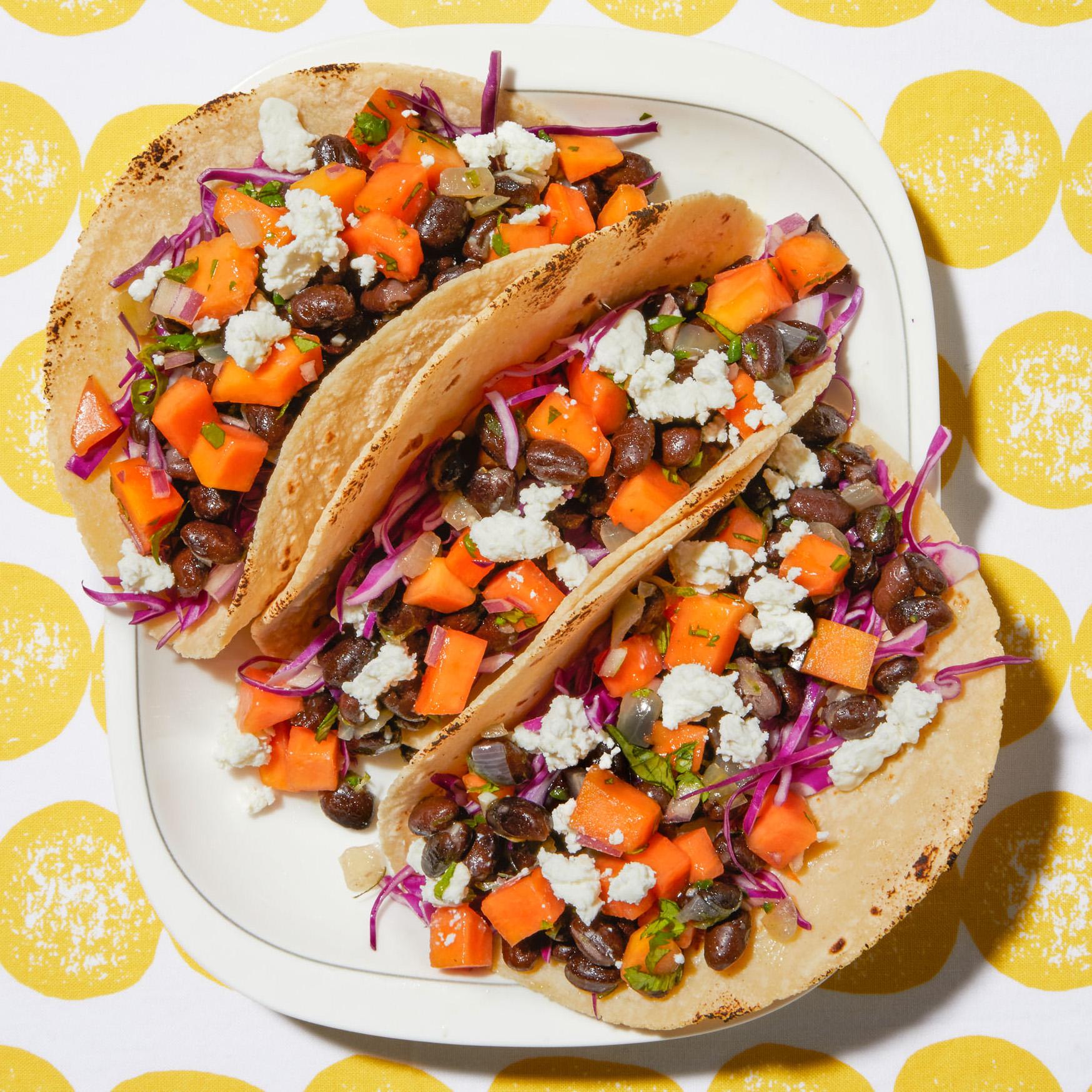 black bean papaya goat cheese tacos
