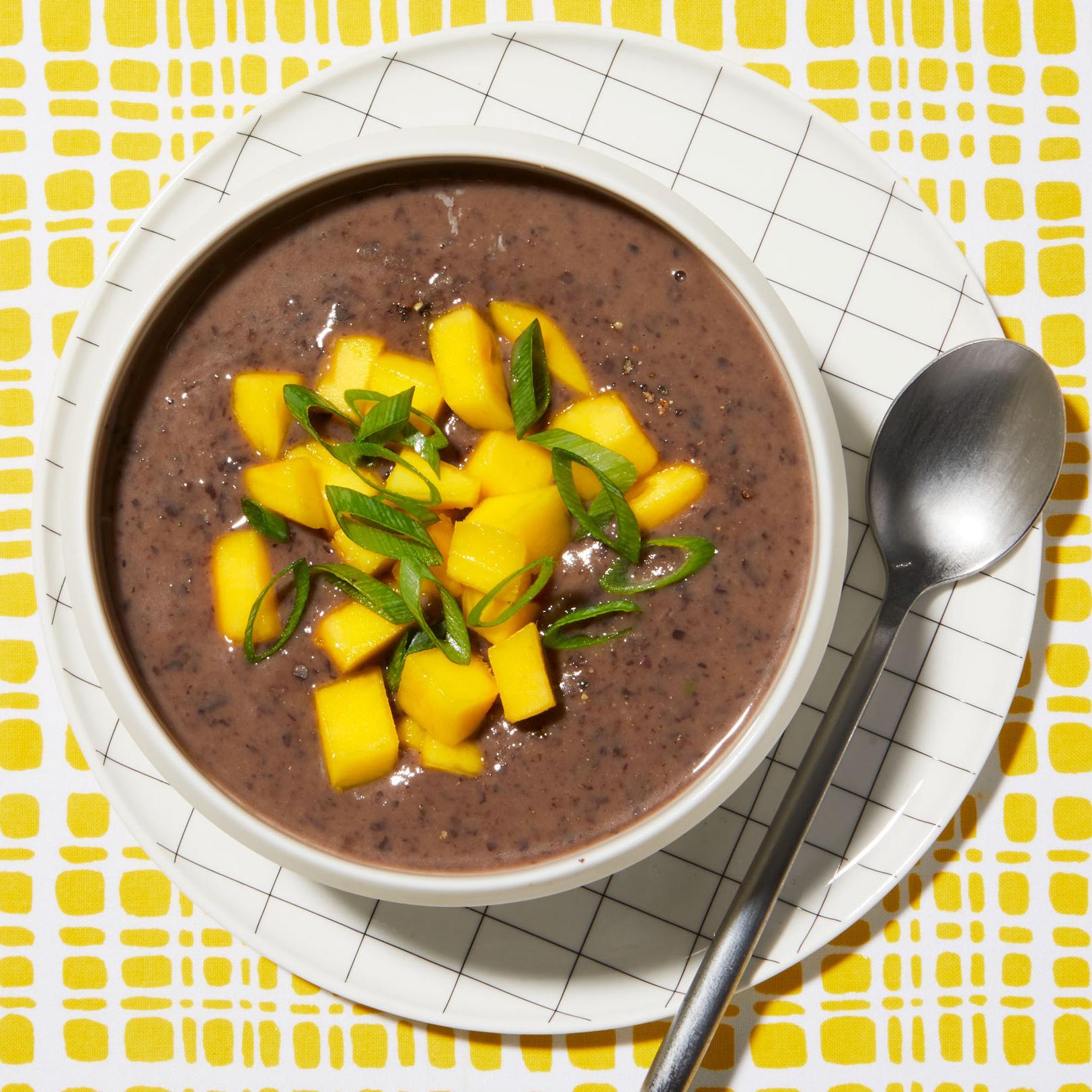 coconut–black bean soup with mango