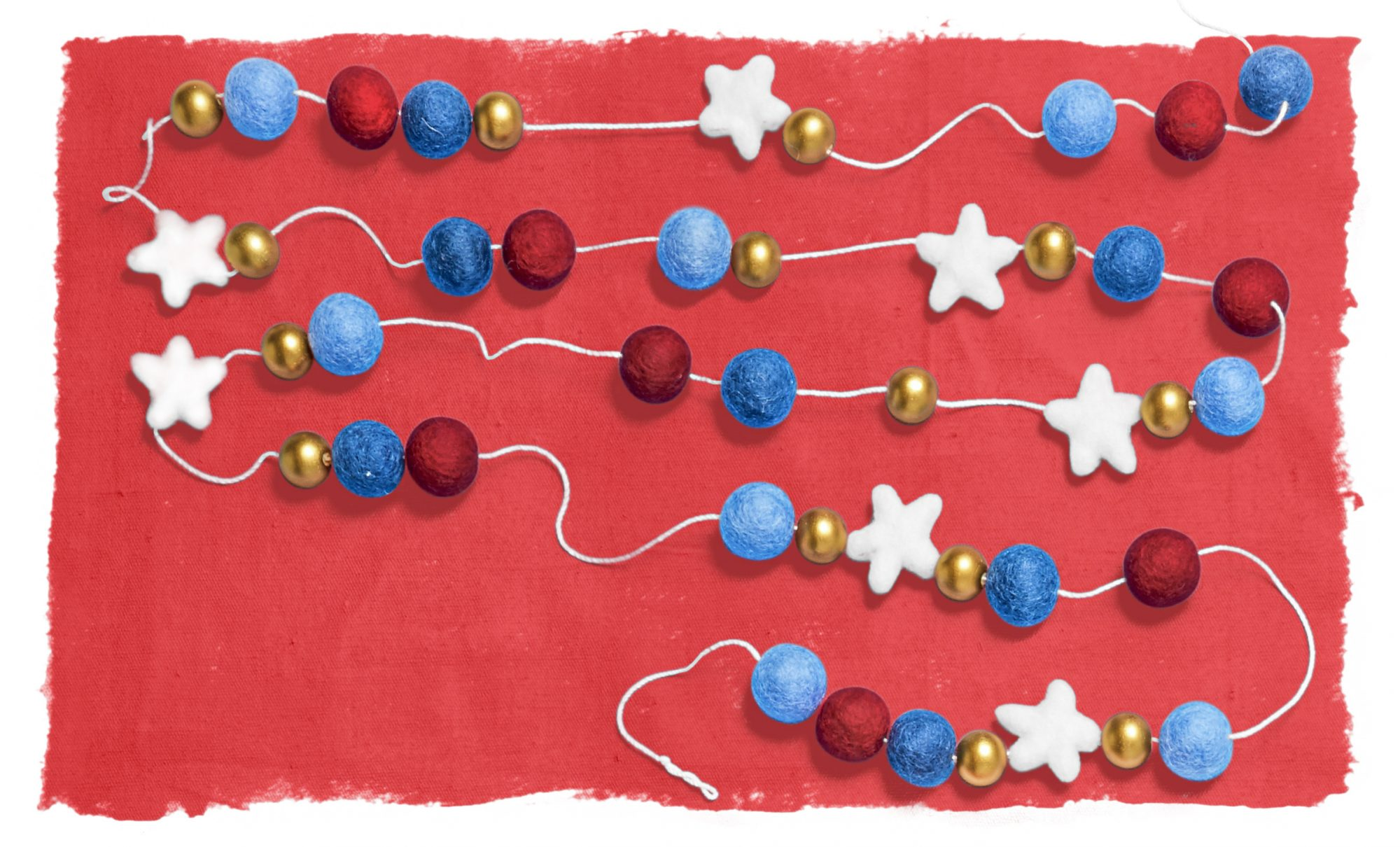 stars and stripes garland on red