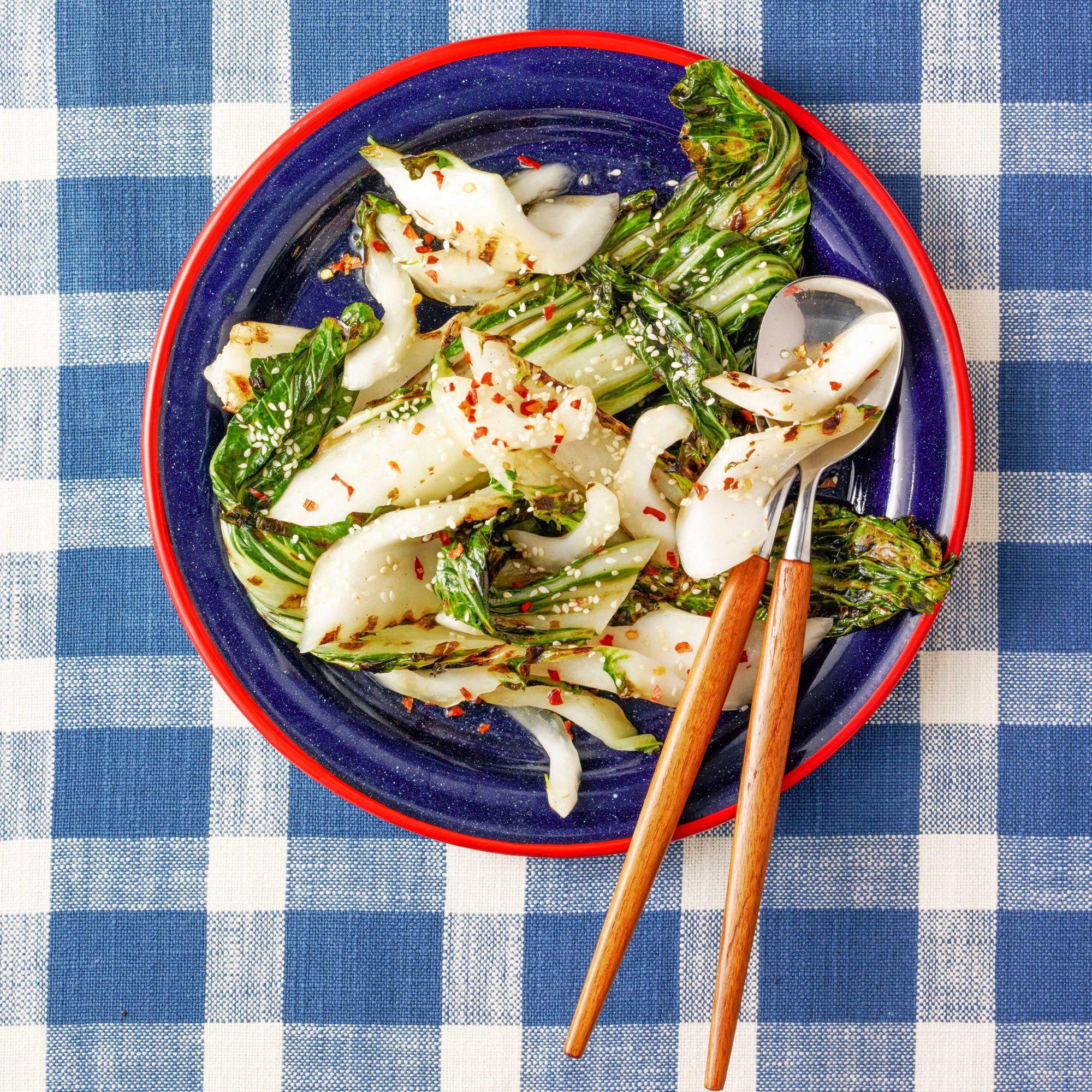 Grilled Bok Choy with Sesame Vinaigrette