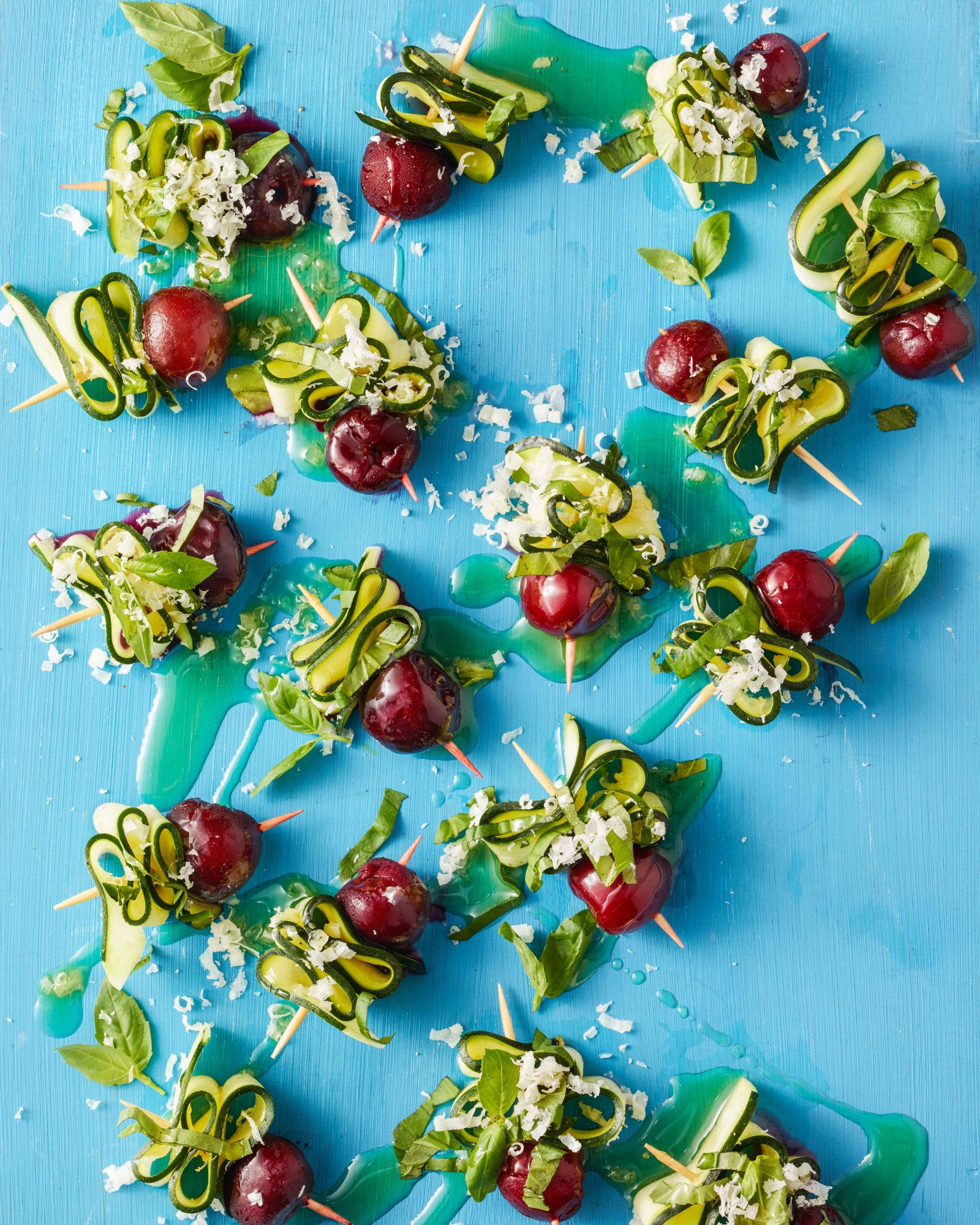 Shaved Zucchini Salad with Cherries & Basil