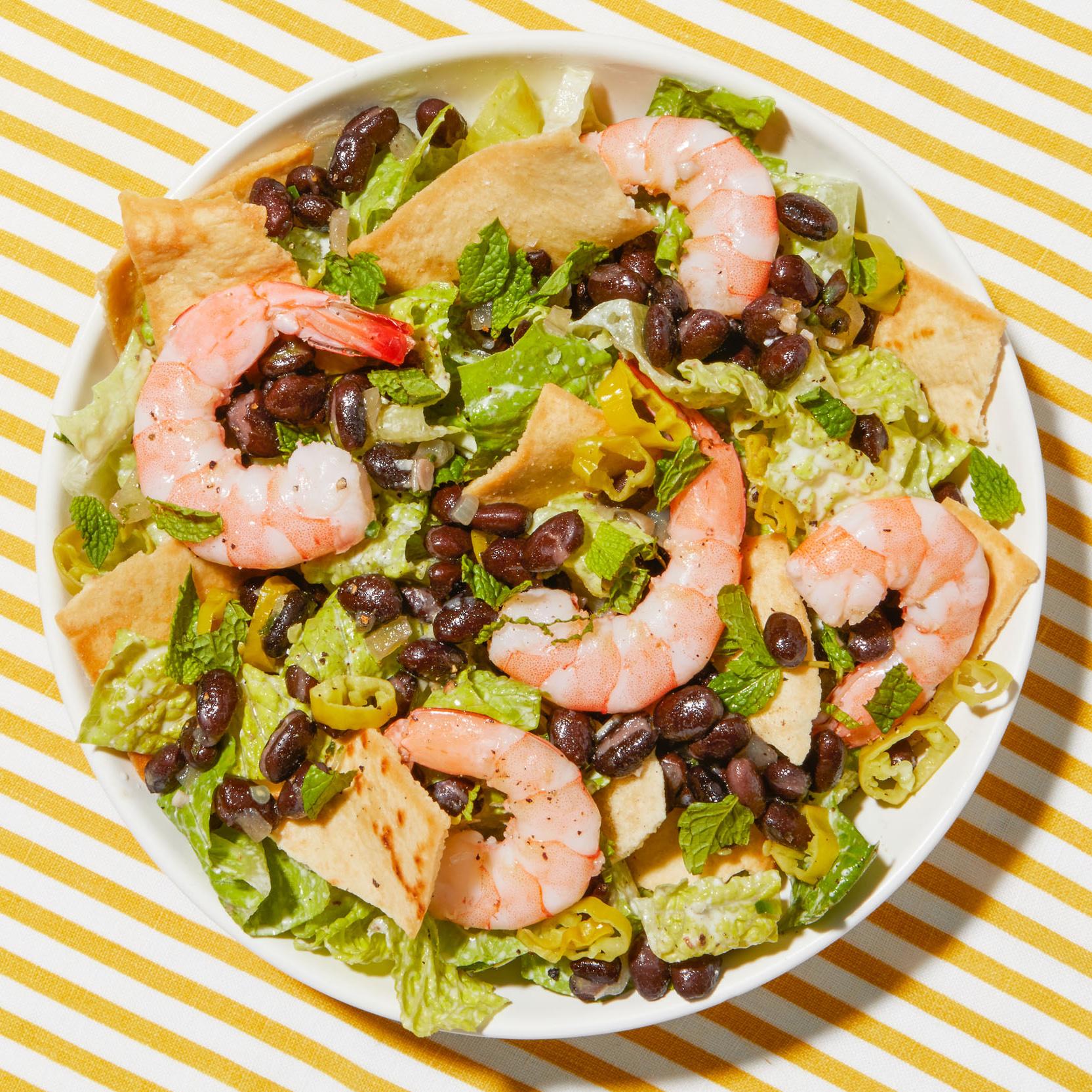 shrimp feta black bean salad