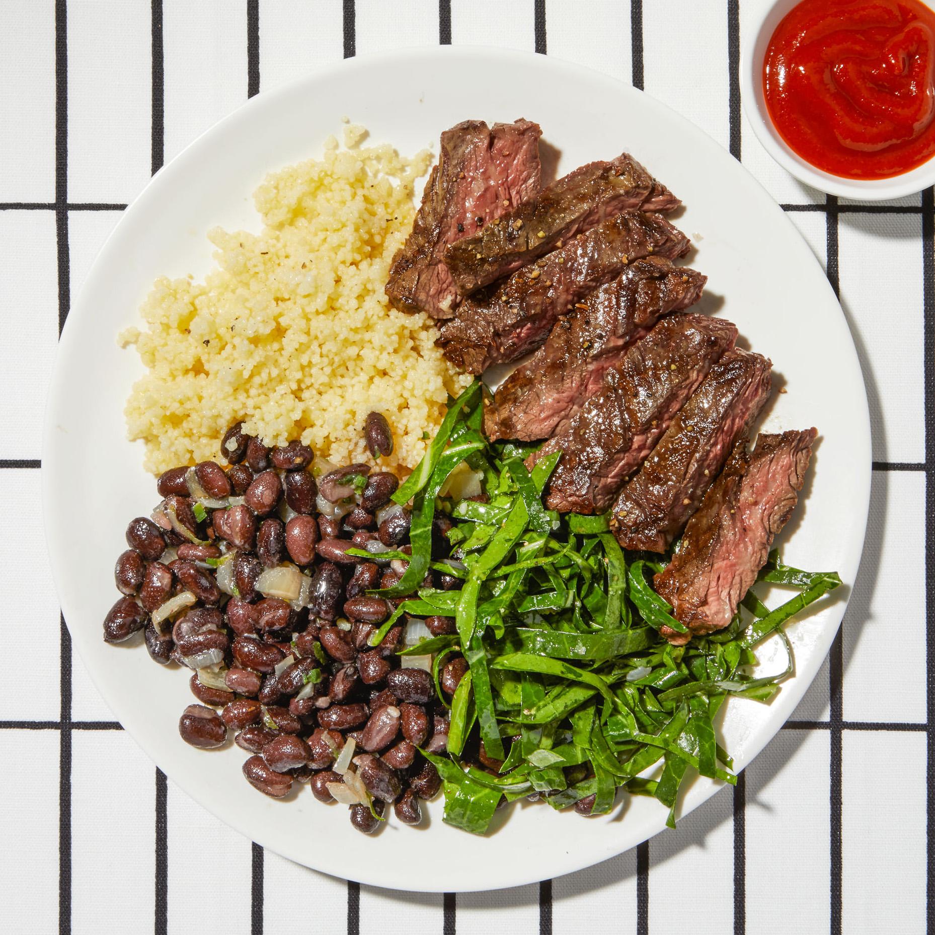 spicy steak beans with collard slaw