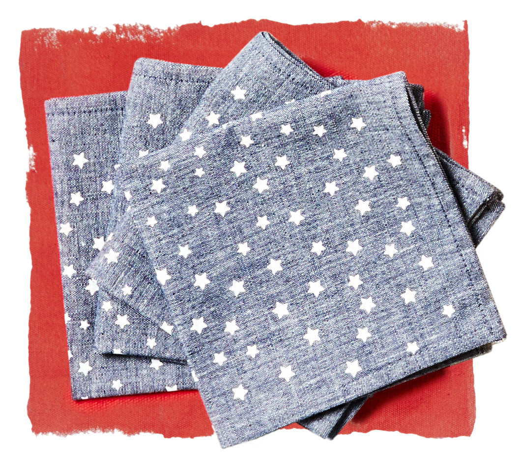 star chambray cocktail napkins on red