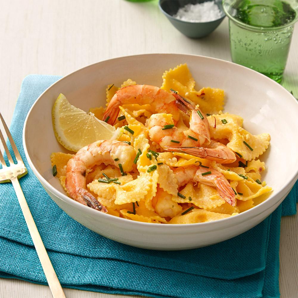 Spicy Saffron-Shrimp Pasta