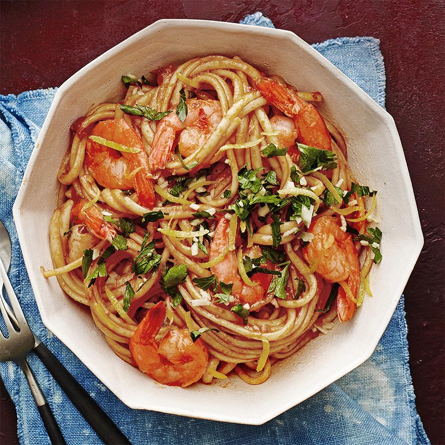spicy shrimp gremolata linguine