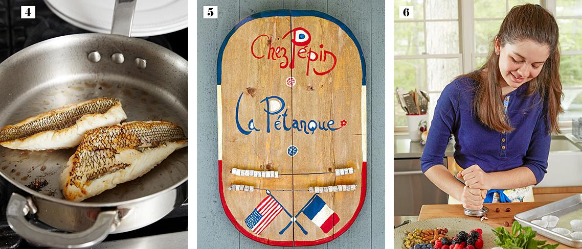 4: Fish frying 5: La Pétanque game 6: Shorey in kitchen