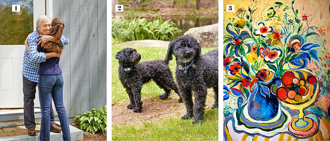 1: Pépin hugging Shorey 2: Pépin's Poodles 3: Pépin's painting