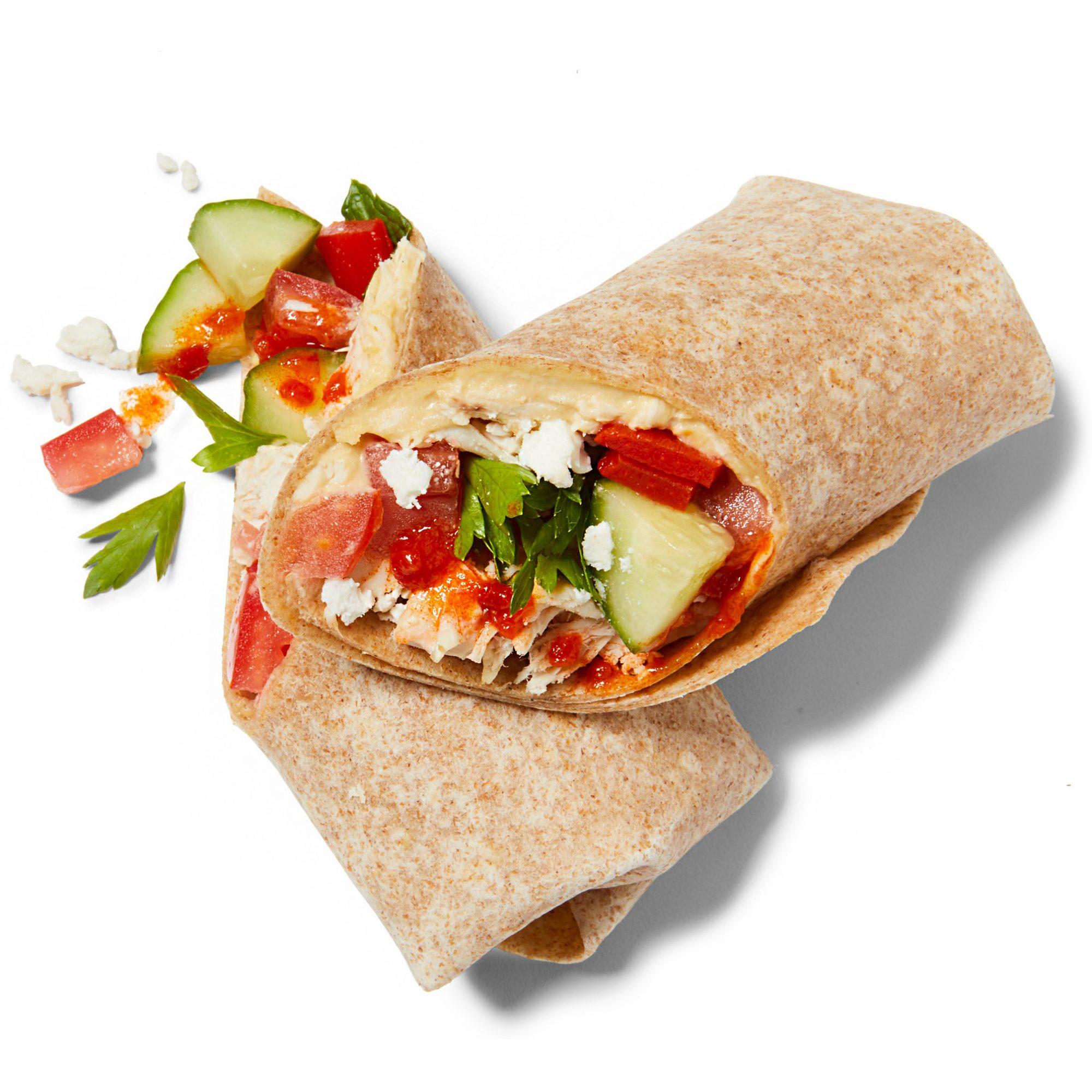 chicken and hummus wrap
