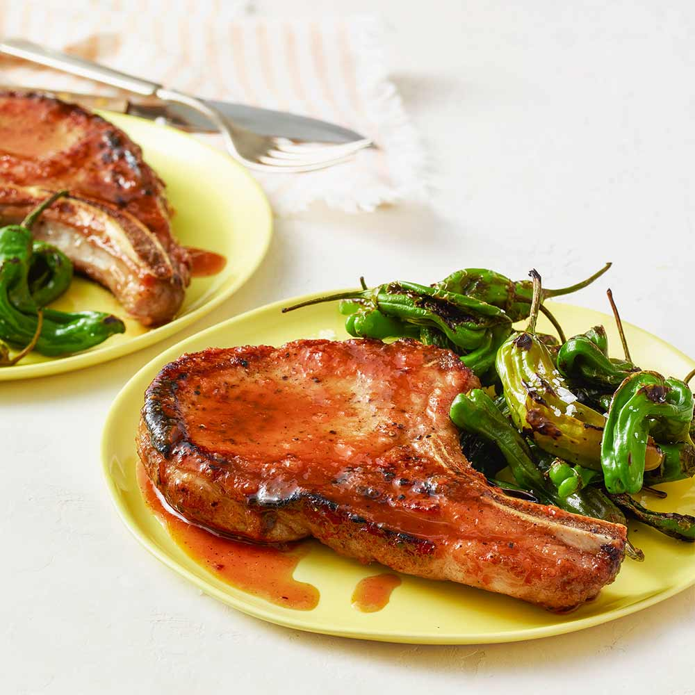 chipoltle pork chops with shishito peppers