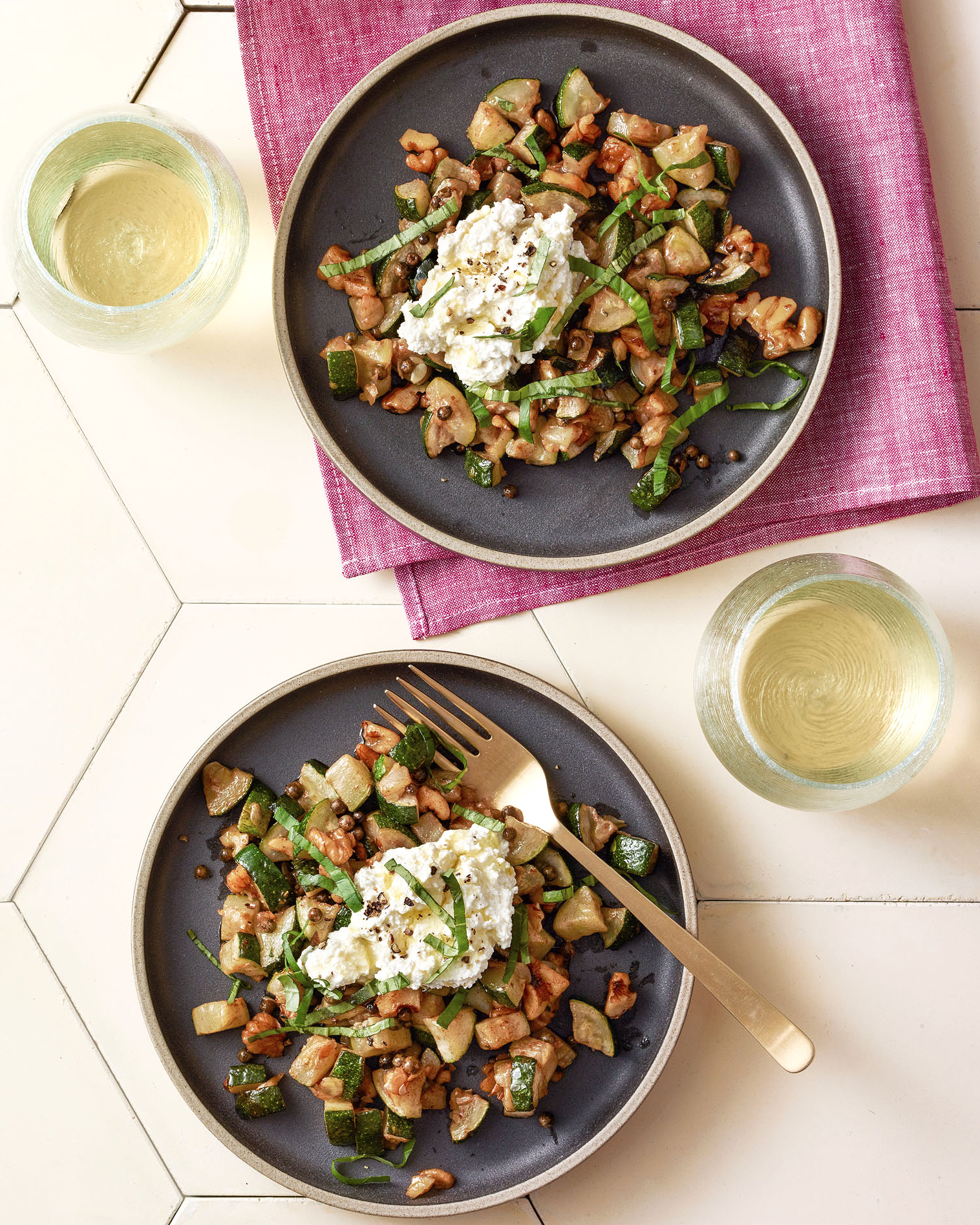 Pan-Seared Zucchini with Green Peppercorns & Ricotta