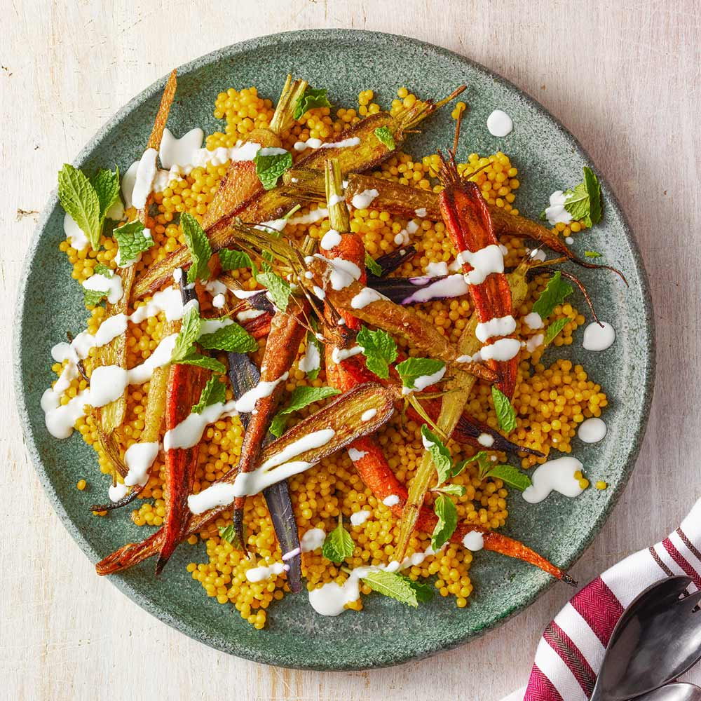 Roasted Carrots with Turmeric Couscous
