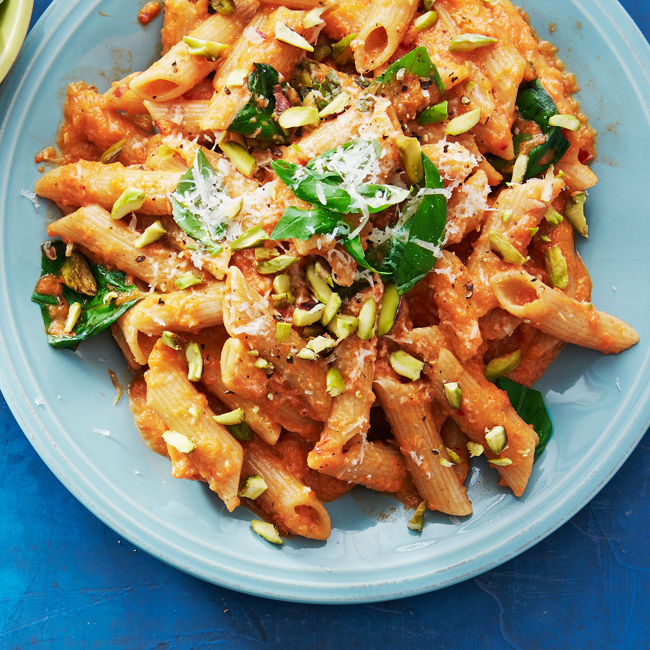 roasted red pepper penne with hot pickled peppers