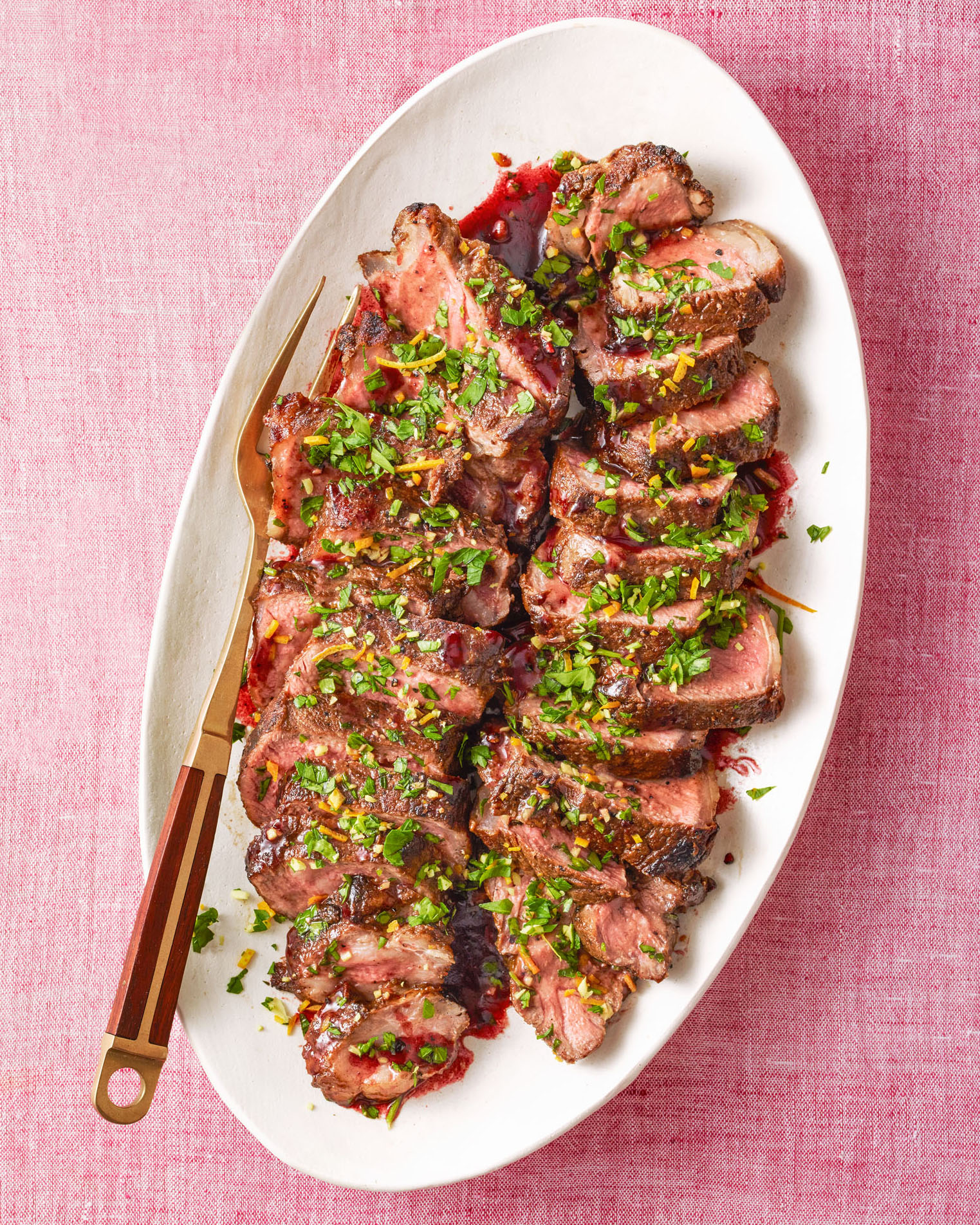 Strip Steaks with Pomegranate Sauce & Ginger Gremolata