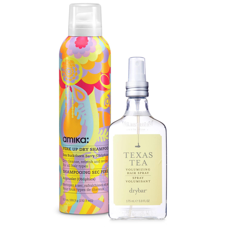 amika dry shampoo and drybar hair spray