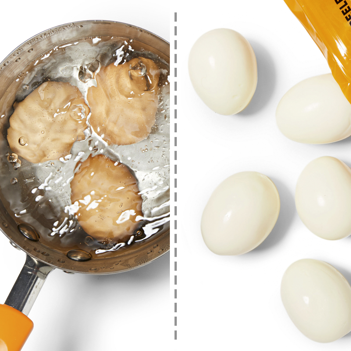 home-cooked and store-bought hardboiled eggs