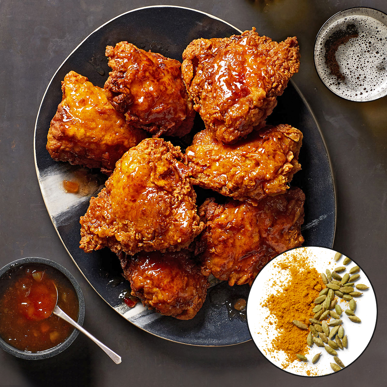 curry and cardamom fried chicken with spices inset