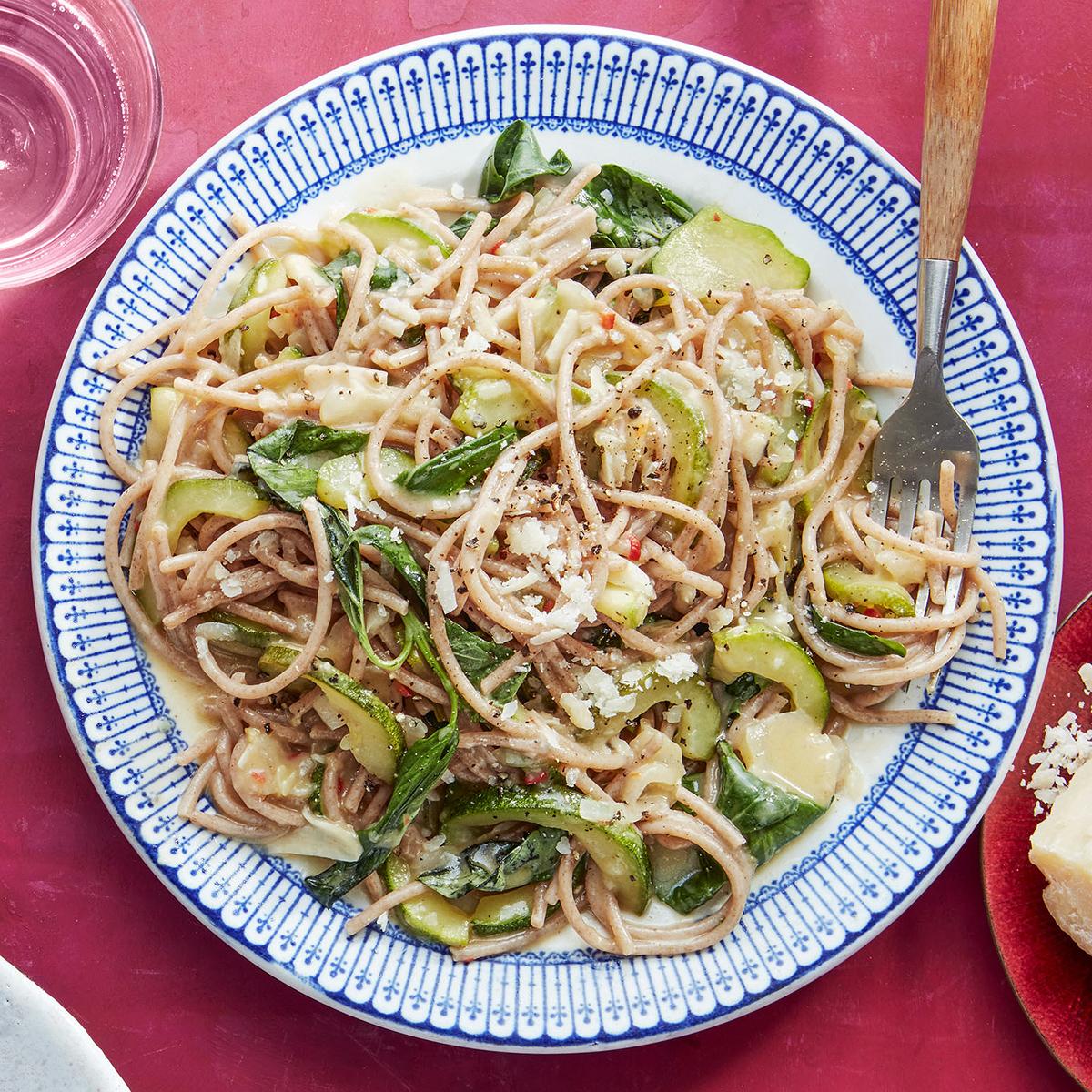 farro spaghetti with zucchini onions