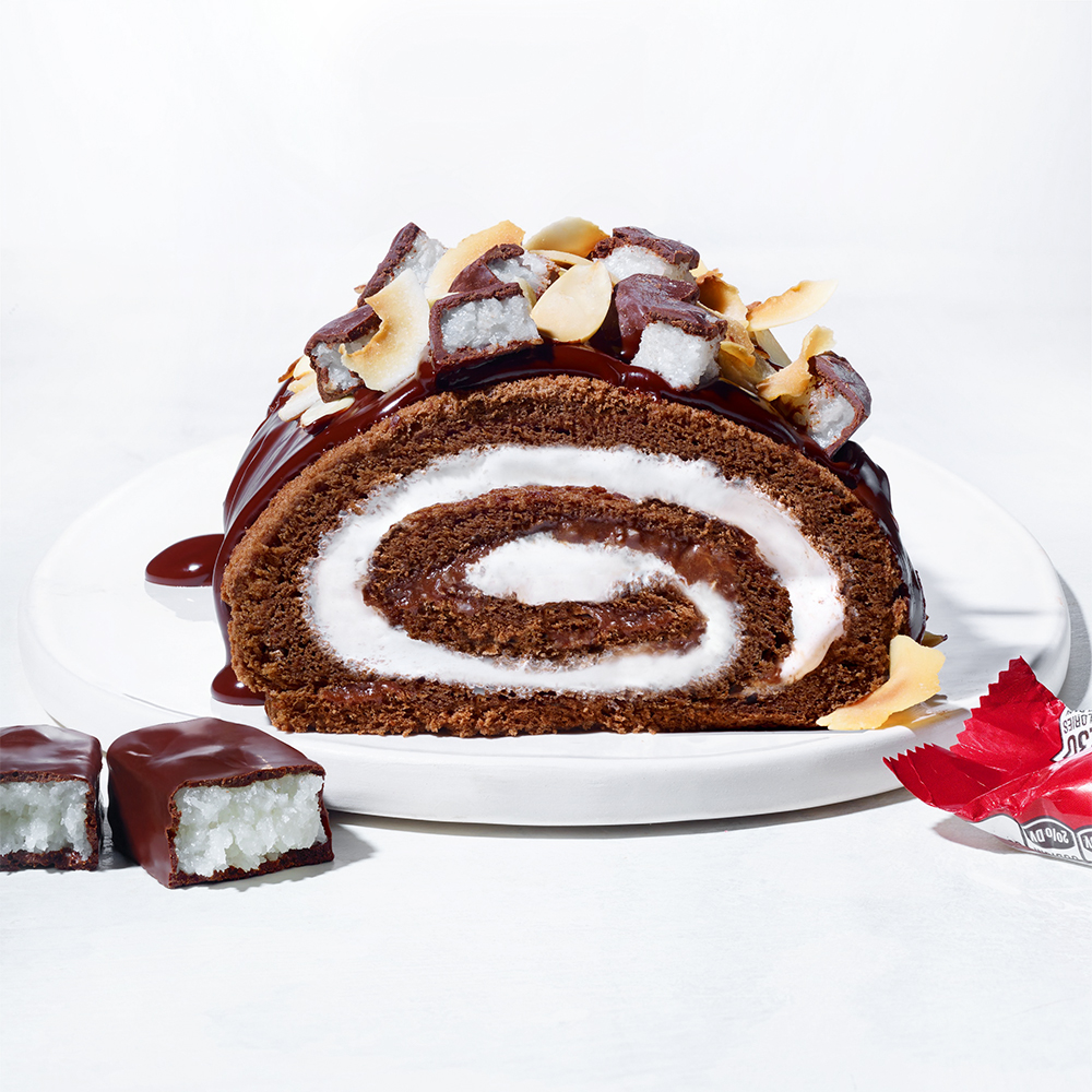 Chocolate Ghoul Log with Mounds Swirl