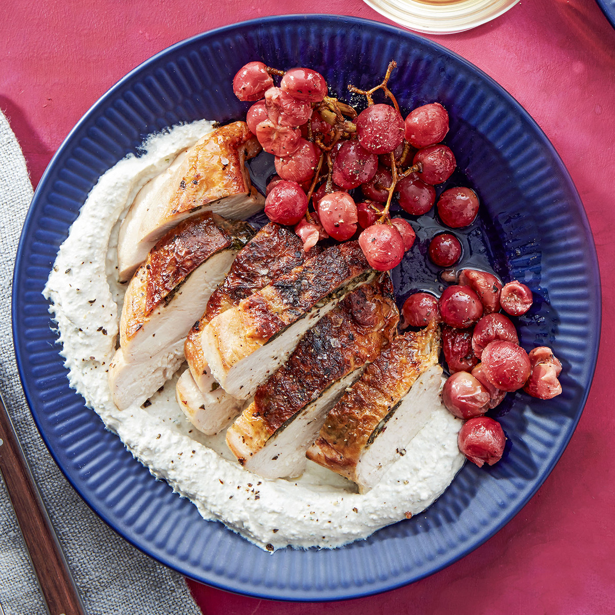 greek gremolata chicken breasts under brick with feta walnut sauce roasted grapes