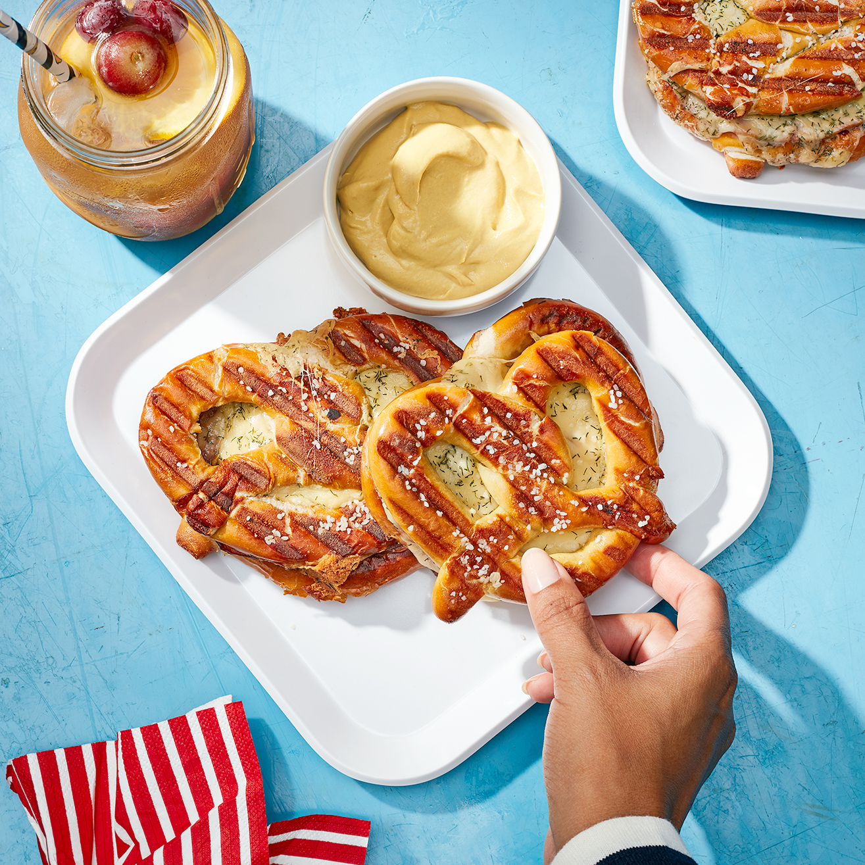 ham and cheese pretzel panini