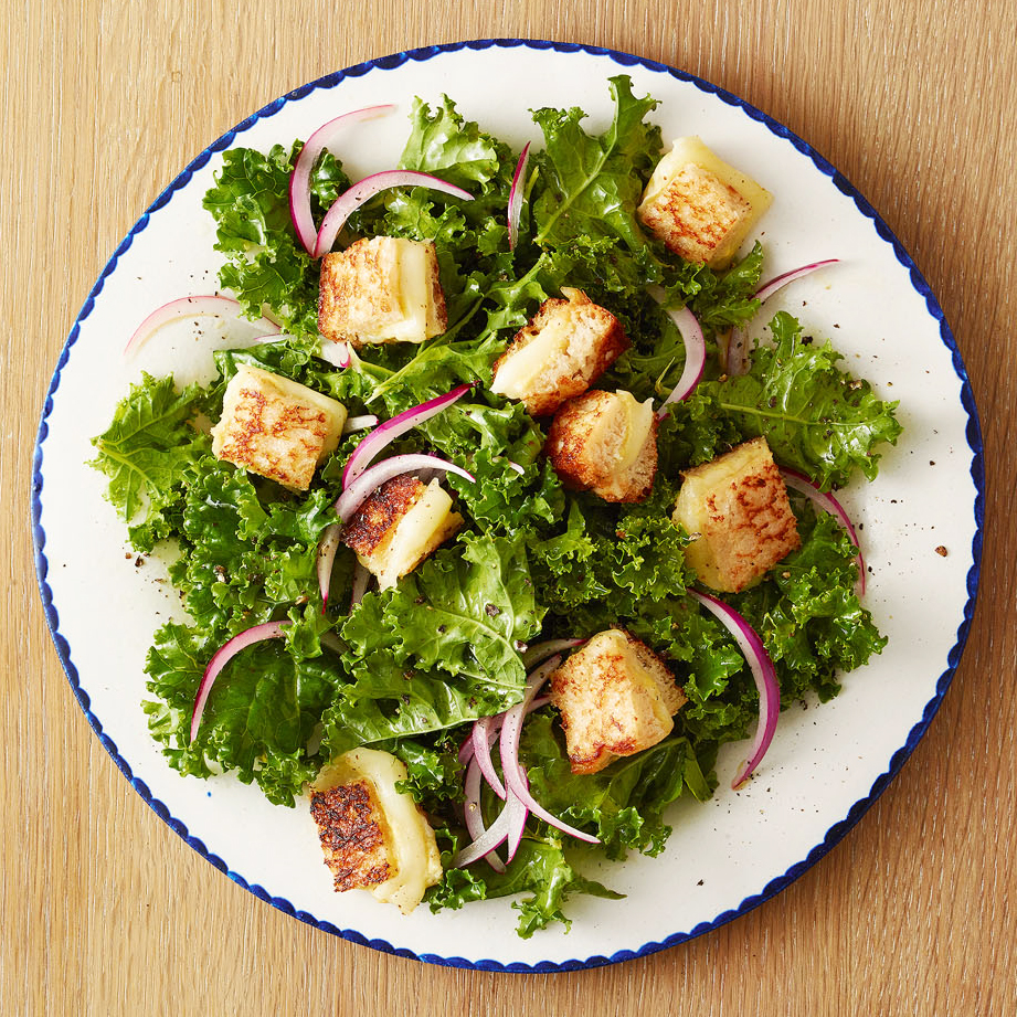 Kale Salad with Grilled-Cheese Croutons