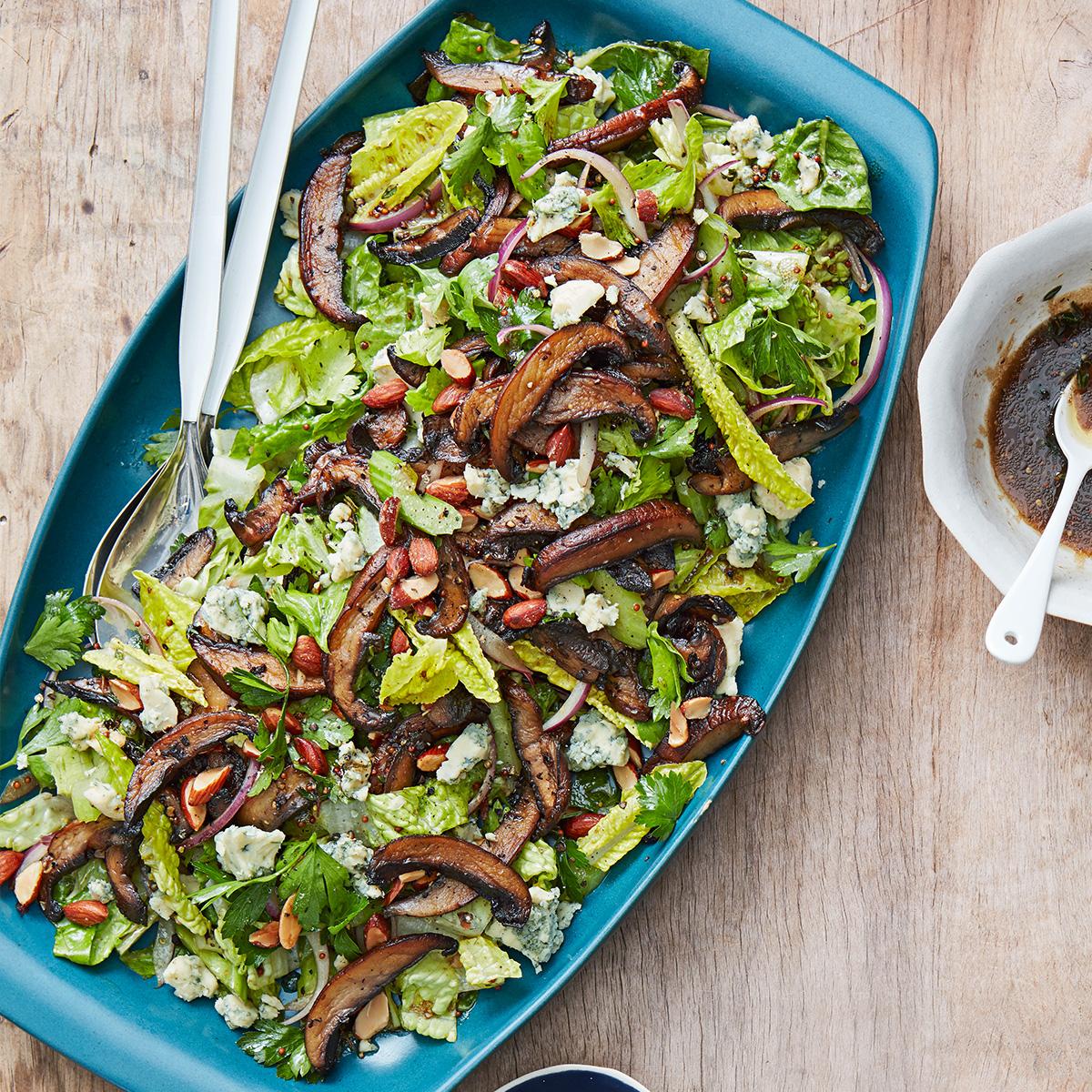 mushroom celery and crispy onion salad