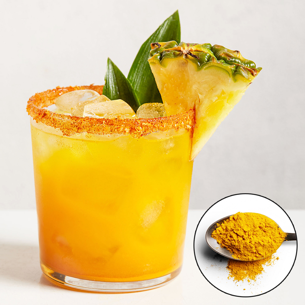 pineapple and turmeric margarita with spice inset