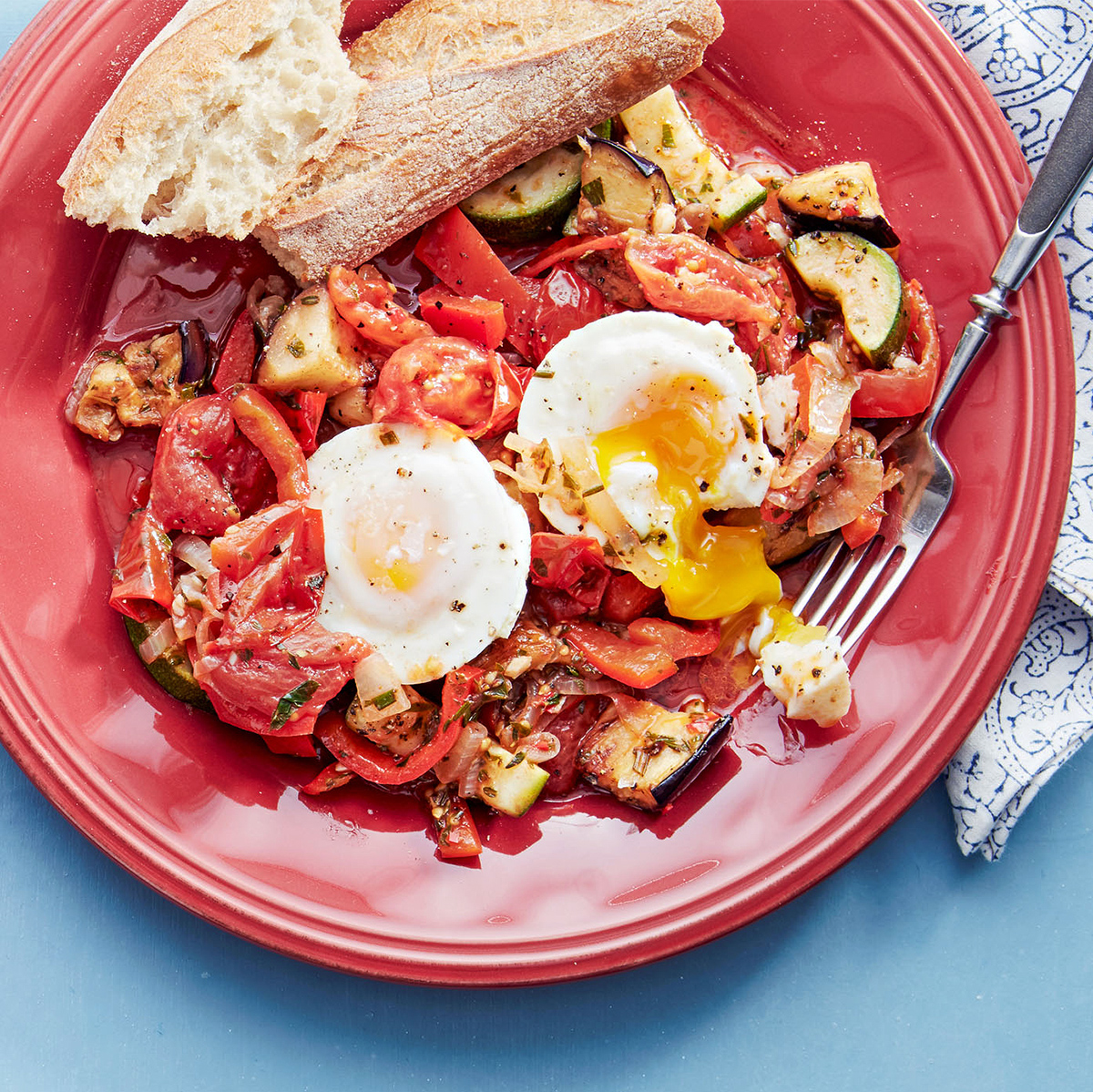 ratatouille with oven poached eggs
