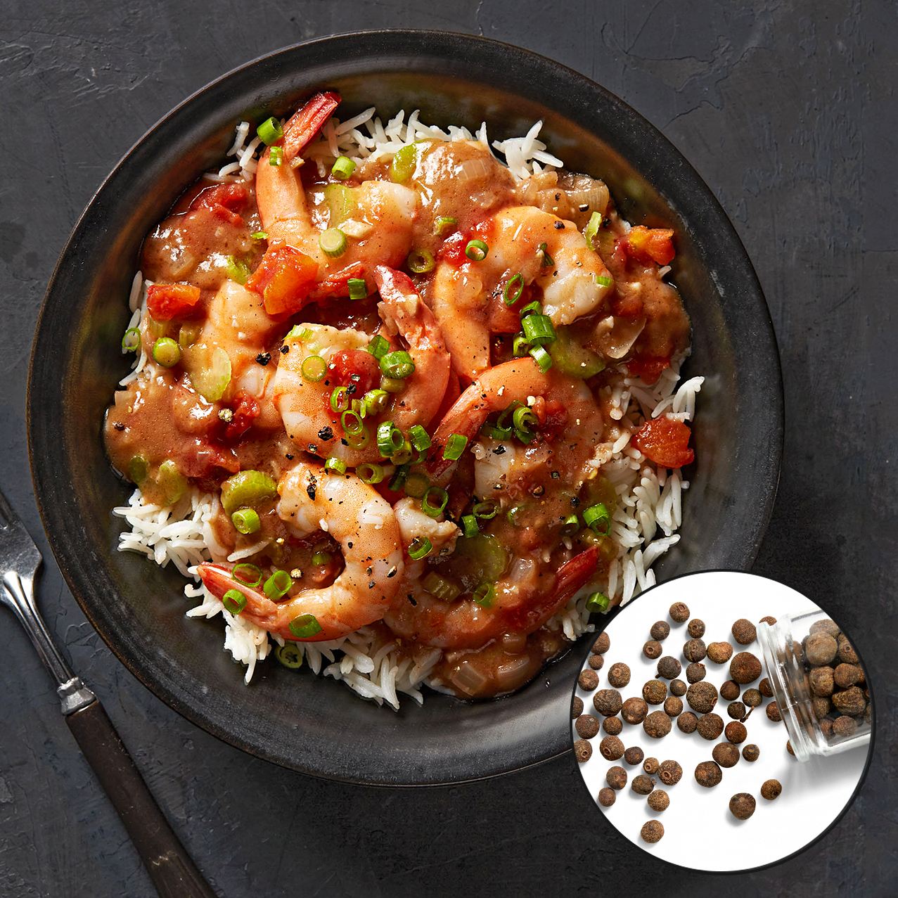 shrimp stew with allspice inset