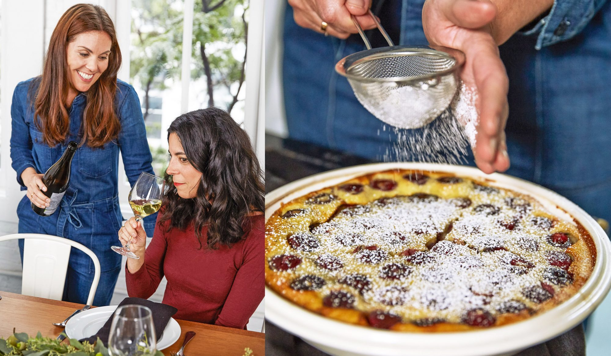 cayne serving wine and clafoutis