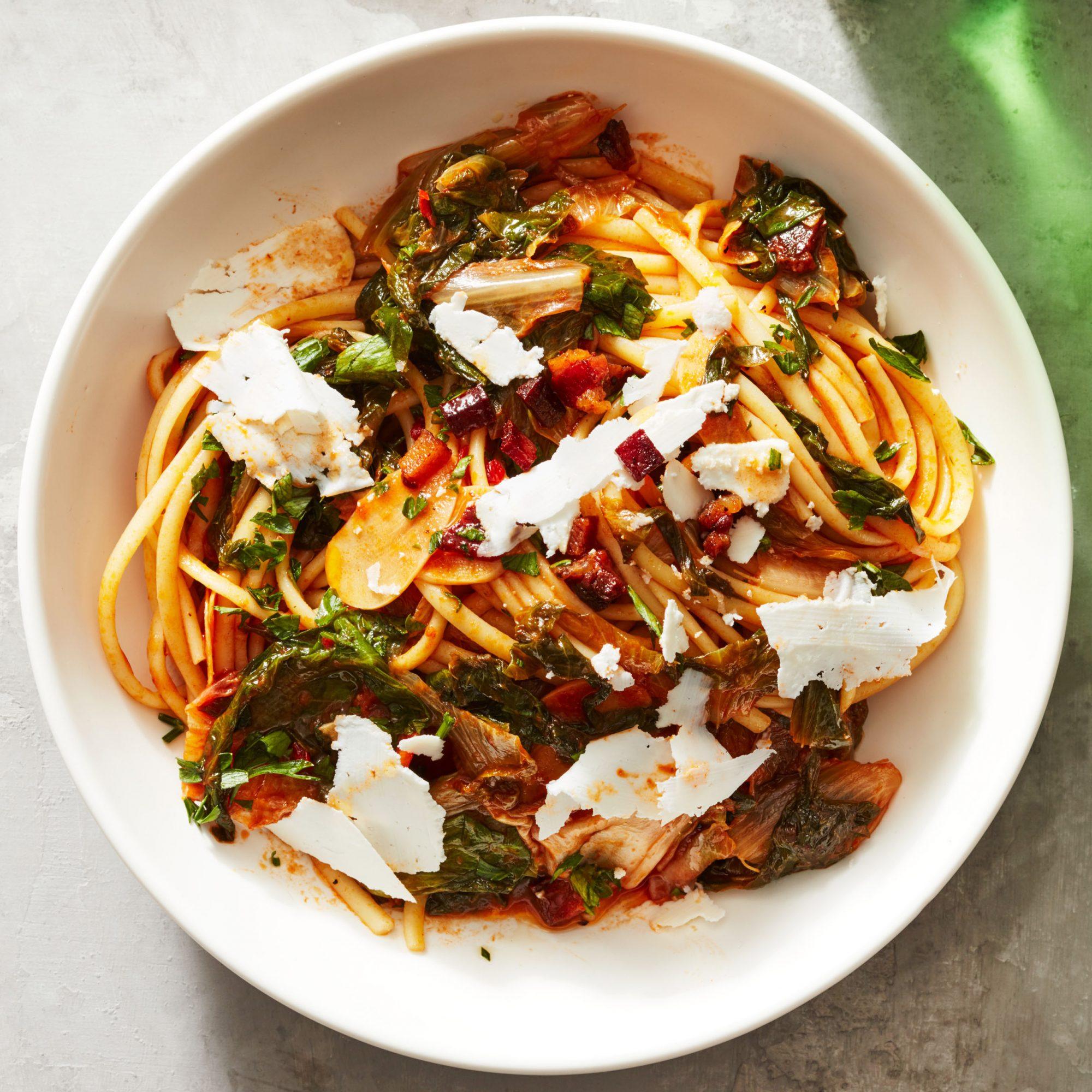 Escarole Linguine with Pancetta & Ricotta Salata