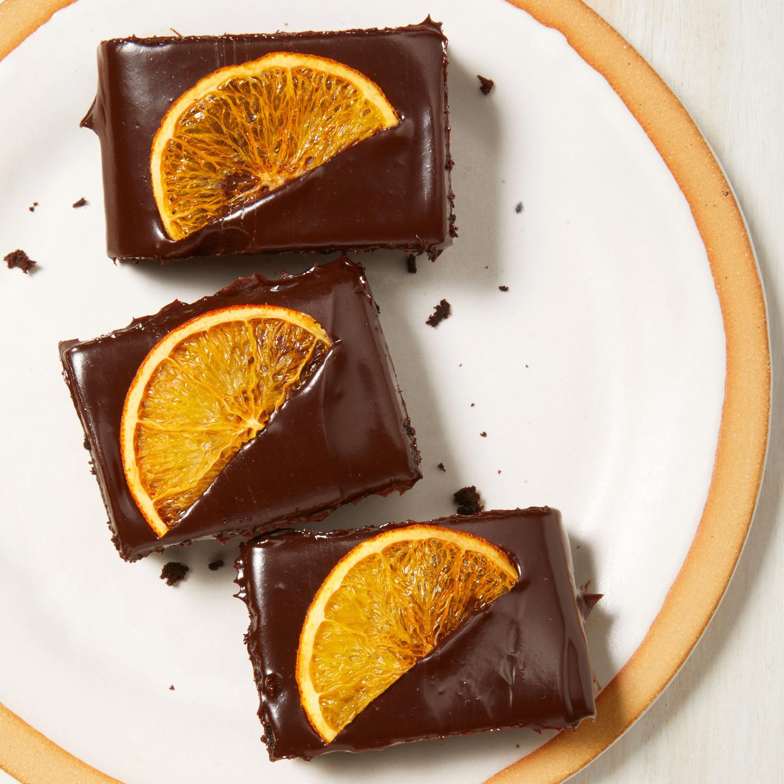 fudgy brownies with orange ganache