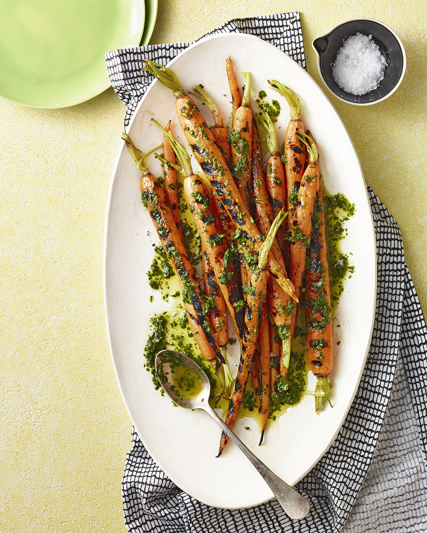 grilled carrots with carrot-top salsa verde