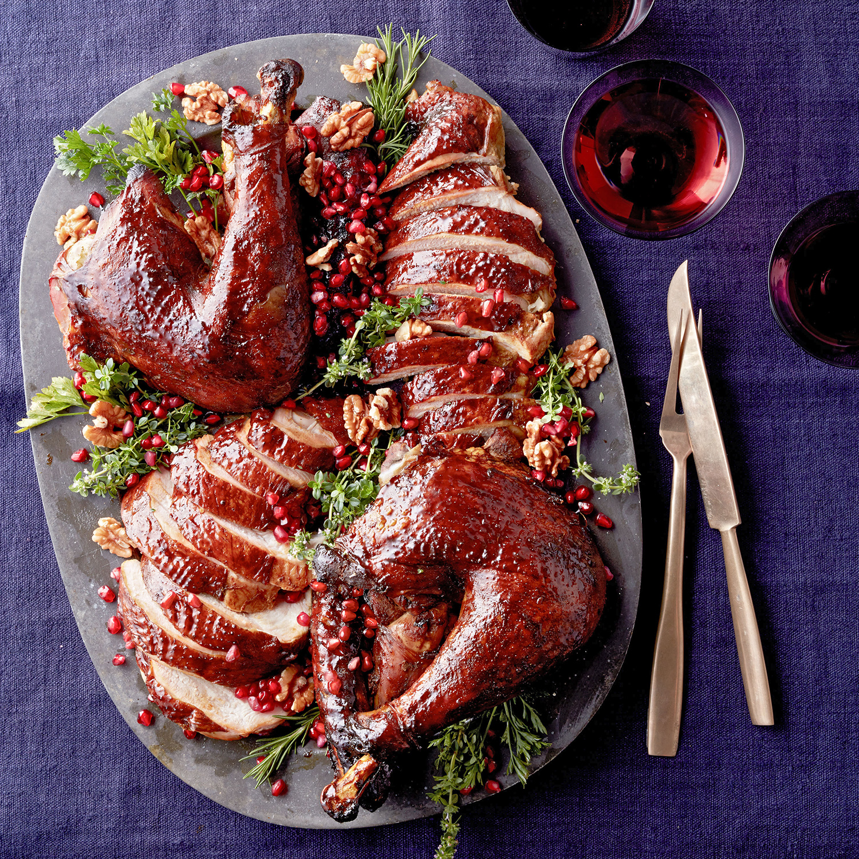 persian-style roast turkey with pomegranate-walnut gravy