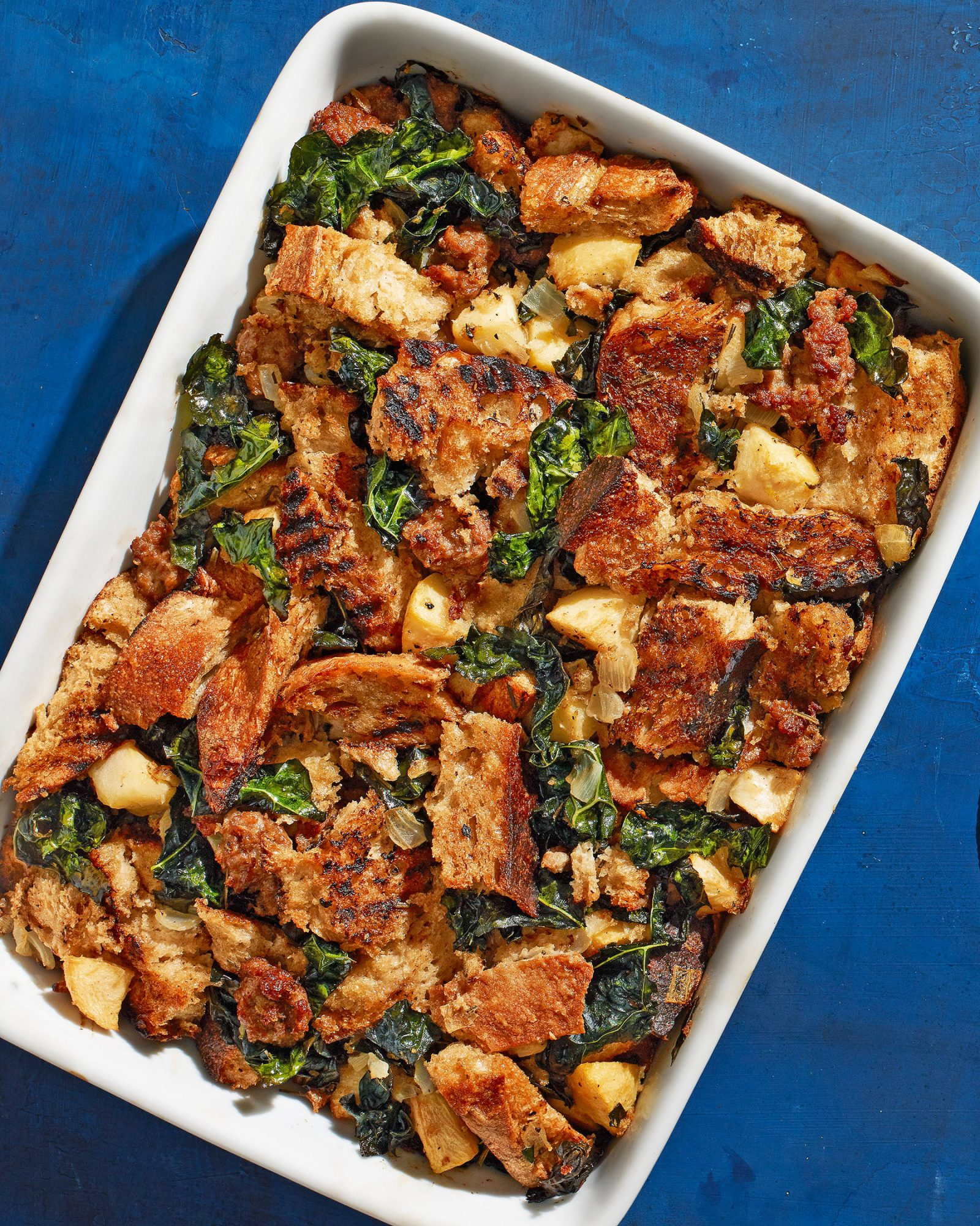 Sourdough Stuffing with Apple, Sausage & Kale