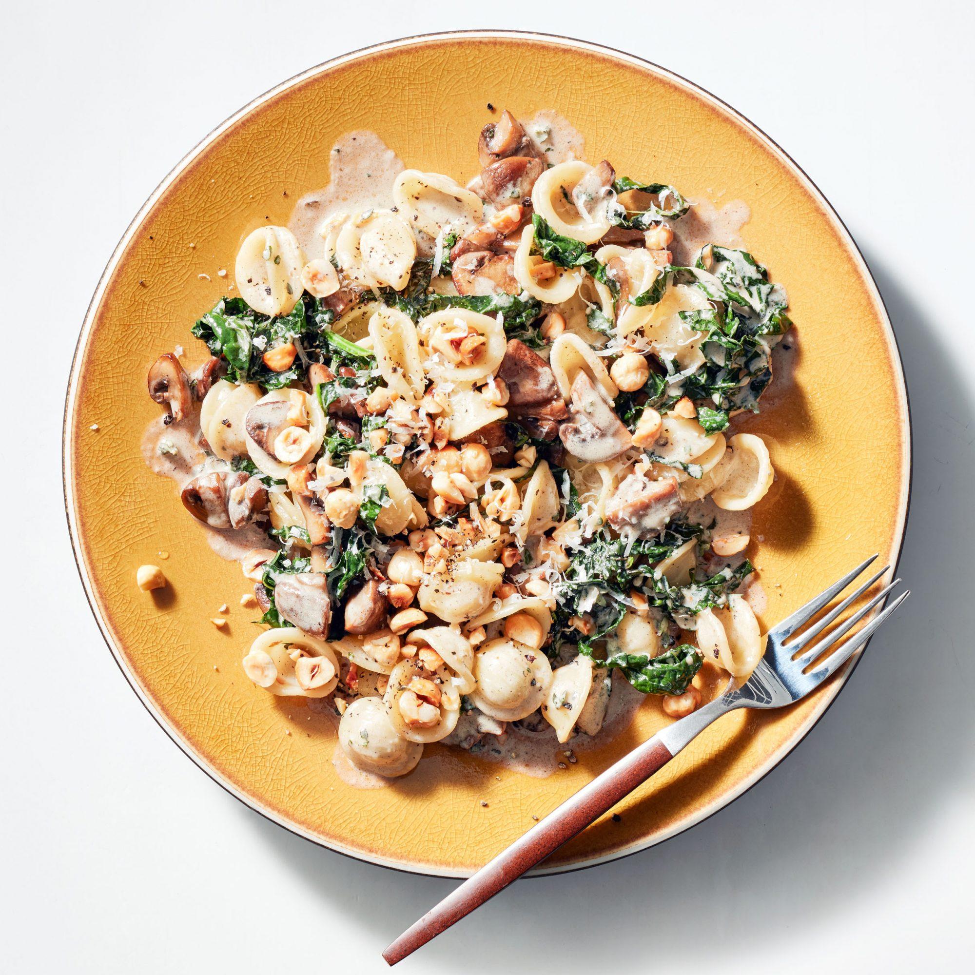 Brown Butter & Cream Orecchiette with Cremini Mushrooms & Kale