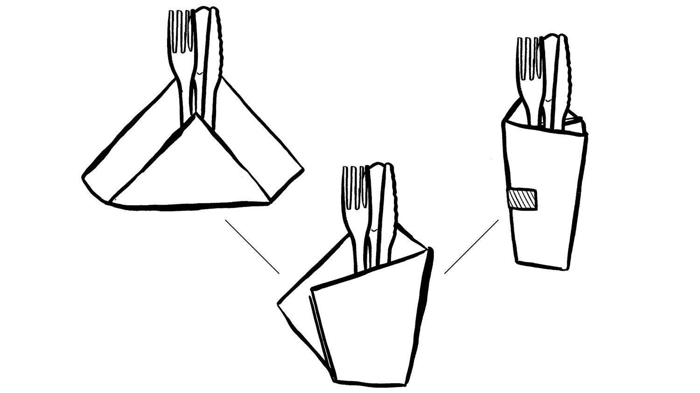 Napkin origami folding illustration