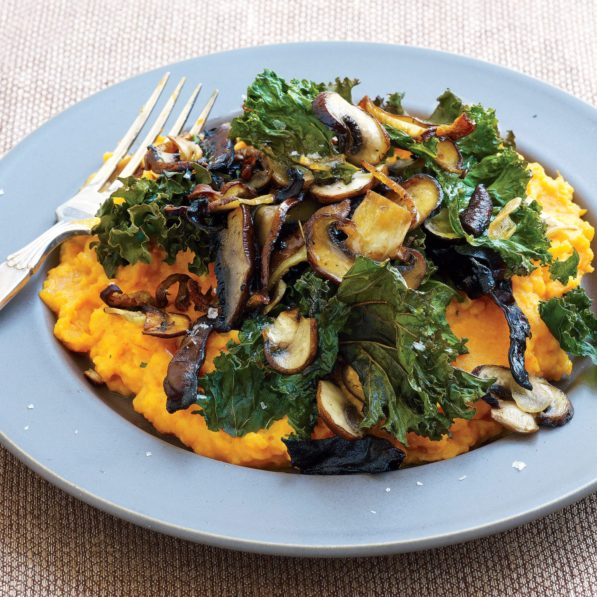 Roast Mushrooms and Kale over Mashed Sweet Potatoes